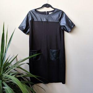Ann Taylor LOFT Faux Leather Mixed Media Dress szS